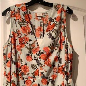 Dresses & Skirts - Floral Sleeveless Dress with Belt